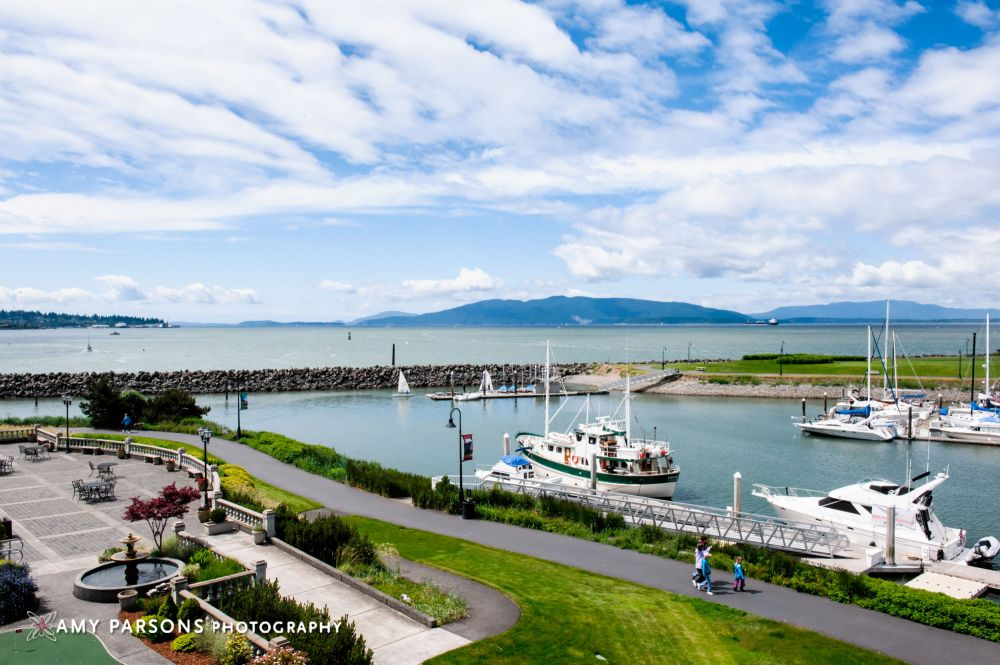 The view of the marina and the San Juan Islands from the Hotel Bellwether.