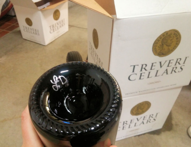 Making a bottle of sparkling wine at Treveri Cellars.